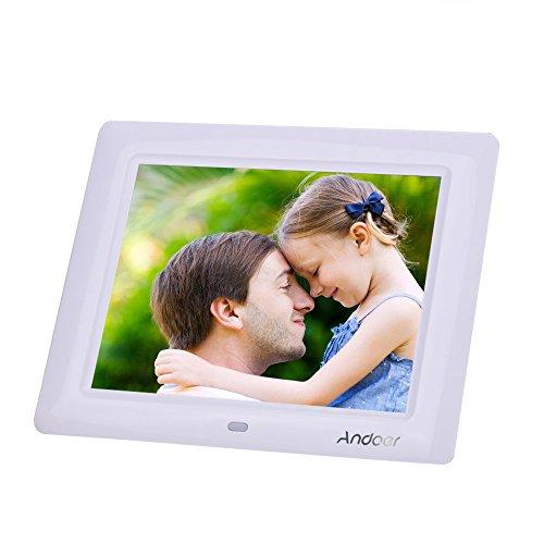 Marco Digital Andoer 8 Pulgadas HD TFT-LCD 800 x 600 con Funciones de MP3 MP4 Reproductor de Audios Desktop Remoto Enchufe de EE UU