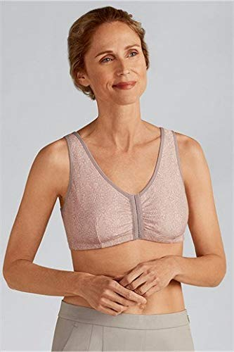 Amoena Women's Frances Front Close Bra, Taupe Lace, Large C/D