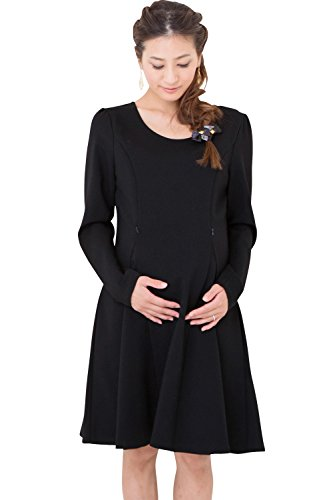 スウィートマミー (Sweet Mommy) シンプル フレア ポンチ ワンピース 授乳服 / マタニティウェア M ブラック