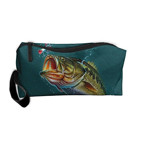Largemouth Kit - FRTSFLEE Largemouth Bass Pencil Case Travel Toiletry Bag Receive Bag Pencil Bag Durable Pouch Zipper Big Capacity Trave Makeup Organizer Bag