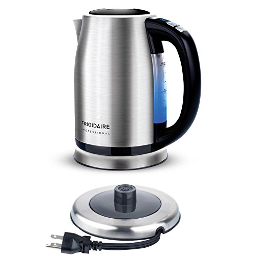 Frigidaire Professional Stainless Programmable Water Kettle Cordless, 1.7-Liter