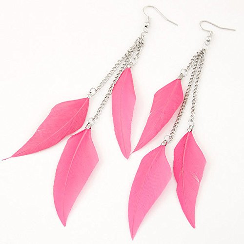 Leiothrix Nutural Feather Alloy Earrings in Pink for Women and Girls Apply to Wedding Party Casual