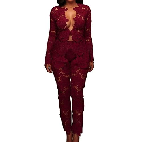 Cruiize Womens Lace 2 Piece Jumpsuits Slim Long Bodycon Club Rompers