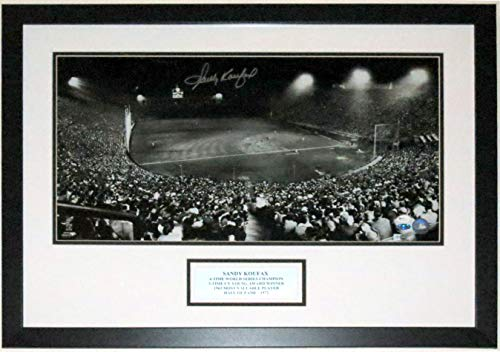 (Sandy Koufax Signed Dodgers 12x24 Photo - Steiner Sports & MLB COA Authenticated - Professionally Framed & Plate)