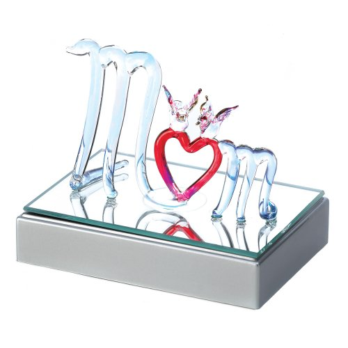 Gifts & Decor Color Change Spun Glass Mom Heart Figurine Figure Gift (Spun Glass Heart)