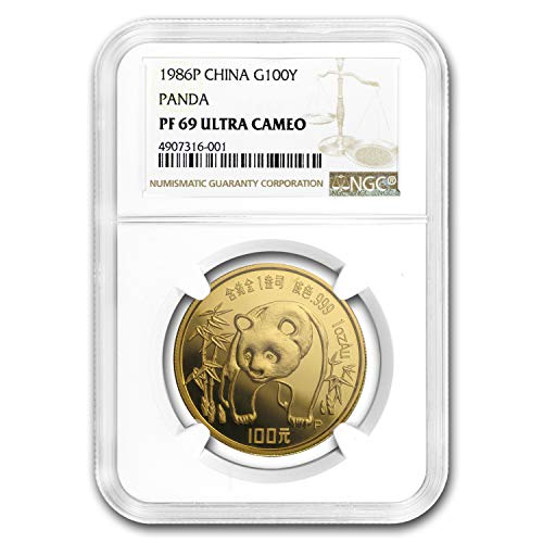 (1986 CN China 1 oz Proof Gold Panda PF-69 NGC 1 OZ PF-69 NGC)