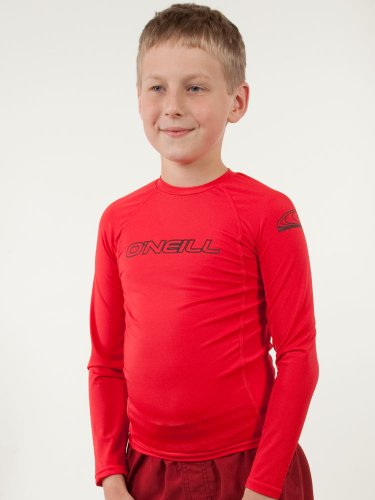 (O'Neill Wetsuits Youth Basic Skins UPF 50+ Long Sleeve Sun Shirt, Red, Size 16)