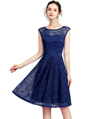 Bbonlinedress Women's Vintage Floral Lace Sleeveless Bridesmaid Dress Formal Cocktail Party Swing Dress Navy 2XL ()