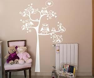 Vinilos decorativos de rbol con buhos y corazones 52x80 for Amazon decoracion pared