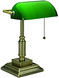 V LIGHT Traditional Style CFL Bankeru0027s Desk Lamp With Green Glass Shade  (VS688029AB)