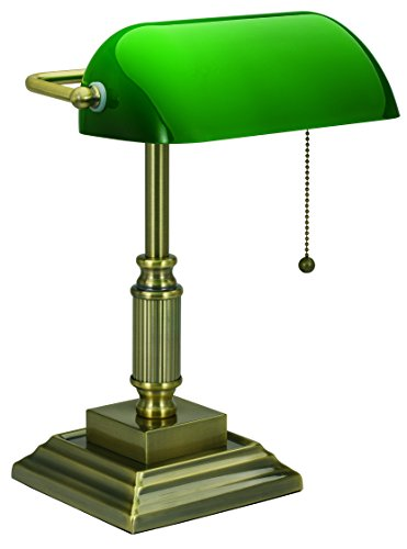 V-LIGHT Traditional Style CFL Banker's Desk Lamp with Green Glass Shade (VS688029AB) (Bankers Lamp)