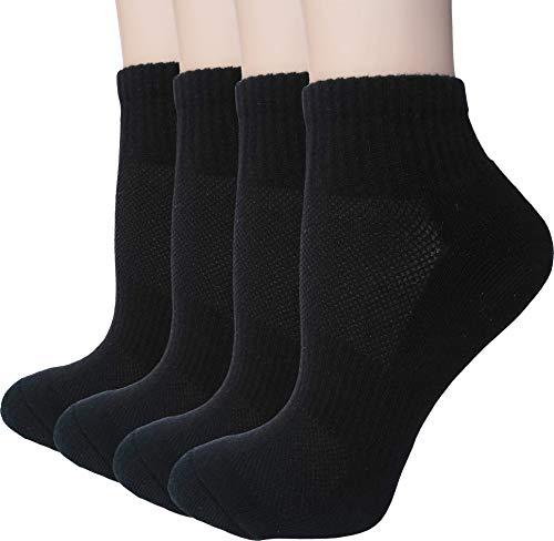 Women's Athletic Low Cut Ankle Quarter Cushion Socks with Gift Box 4 Pack (Black 1 - Shoe sizes: 6-9)