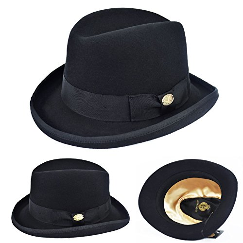Brim Homburg - Black Wool Homburg Hat Trimmed Edge Bowler Derby Godfather Fedora Lined Hat