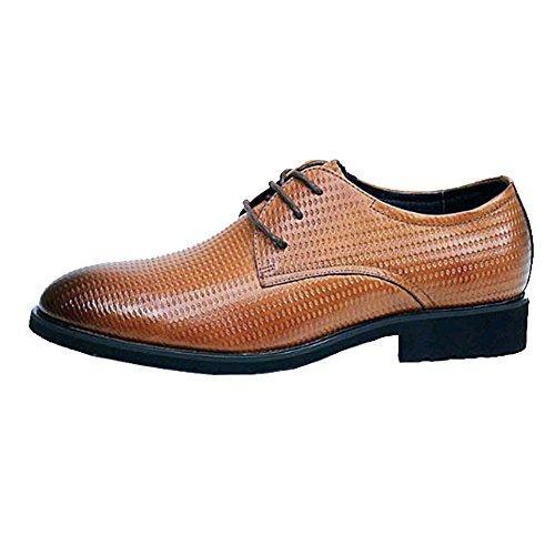 NIUMJ Hommes D'affaires Occasionnels Souliers Confortable Glissement Respirant Porter des Chaussures en Dentelle Yellow