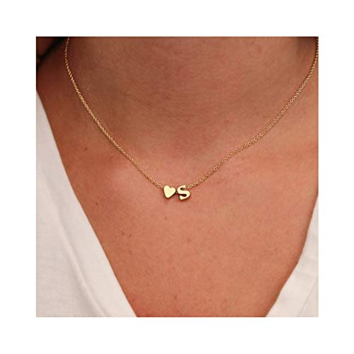 WLLAY Fashion Tiny Dainty Love Heart Initial Necklace, used for sale  Delivered anywhere in USA
