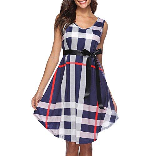 Gürtel Damen Kurz Locker T-shirt Kleid Sommerkleid Kariertes Sommer Mioim Minikleid Mit V-ausschnitte Ärmellos Blau