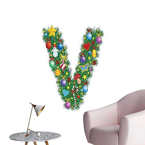 (Letter V Art Decor 3D Wall Mural Wallpaper Stickers Ornament Christmas Tree Design Capitalized V Festive Elements Bells Candies Print School Dormitory Classroom Multicolor W8 x H10)