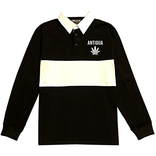 - Country of Antigua Weed Leaf Marijuana Long Sleeve Polo Rugby Shirt X-Large Black