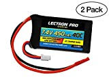 (2 Pack) Lectron Pro 7.4V 450mAh 40C Lipo Battery with JST Connector for Smaller Drones and Airplanes