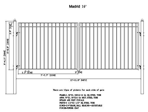 ALEKO Madrid Style Madrid Wrought Gate 16 Feet Ornamental Dual Swing Driveway Gates 16' by ALEKO
