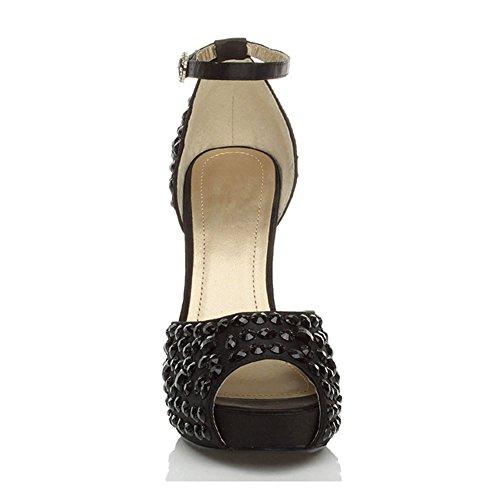 pointure bout à ouvert Noir empierré Strass Femmes haut avec chaussures talon plateforme Noir mariage 0SqfI4z
