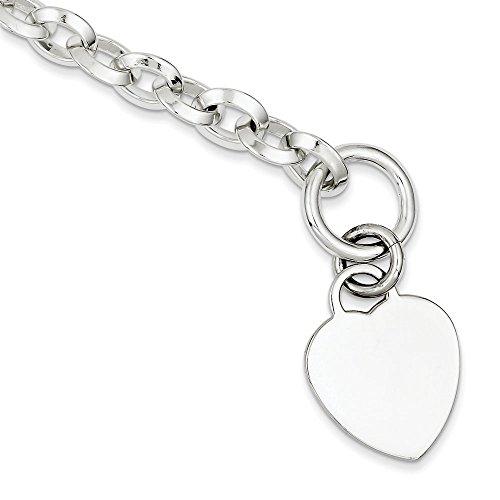 Cœur en argent sterling Fancy Disque à bascule-Bracelet Femme-23cm