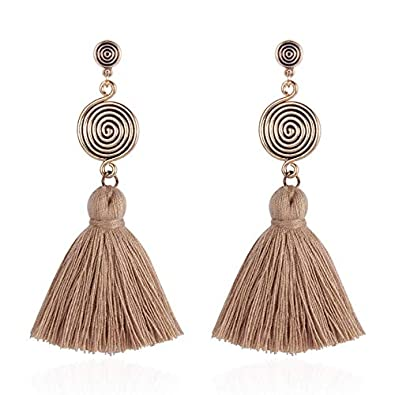 Kalapure Women Girls Bohemian Statement Chandelier Thread Fringe Tassel Drop Dangle Earrings Stud Earring