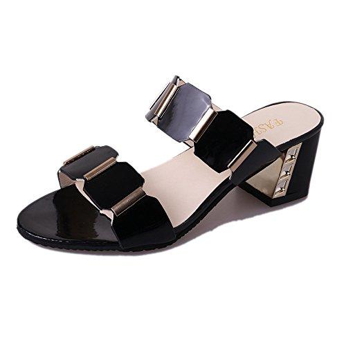 ANJUNIE Women Fish Mouth Slipper High Heels Sandals Antiskid Open Toes Party Flip Flops Shoes(Black,36)