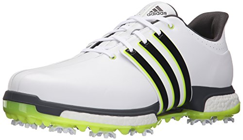 adidas Golf Men's Tour360 Boost Spiked Shoe,White/Black/Solar YEL,9 US (Boost Solar)