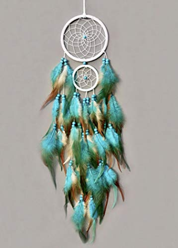 TooglBox Handmade Native American Indian Dream Catcher [Blue] with Real Feathers & Wood Beads,for Kids, Bedroom, Wall Hanging Decor Craft, Two Circles 4.3