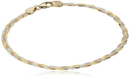 Three Strand 14k Gold (14k Gold Italian Tri-Color 3-Strand Diamond-Cut Braided Herringbone Bracelet, 7.5