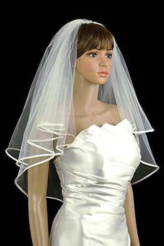 Bridal Wedding Veil Diamond (Off) White 2 Tiers Elbow Length Satin Hem ()