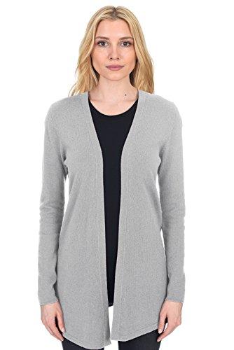 (State Fusio Women's Wool Cashmere Soft Shaker-Stitch Open Cardigan Sweater Premium Quality Heather Grey)