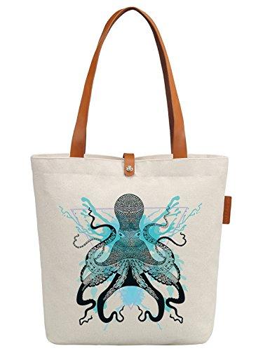 So'each Women's Ocean Octopus Graphic Top Handle Canvas Tote Shoulder Bag