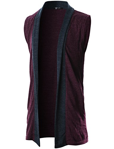 GIVON Mens Sleeveless Draped Open Front Shawl Collar Knitted Long Vest/DCC041-PURPLE-XL (Long Mens Vest)