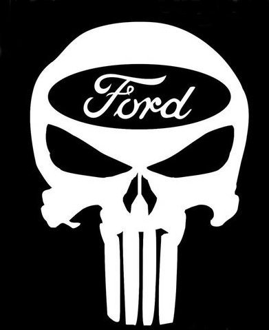 Truck Ford Stickers - Punisher Skull Ford Decal Vinyl Sticker|Cars Trucks Vans Walls Laptop| WHITE |5.5 x 4 in|CCI596