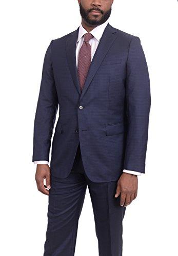 (The Suit Depot Mens Slim Fit Navy Blue Check Two Button Super 150s Wool Suit)