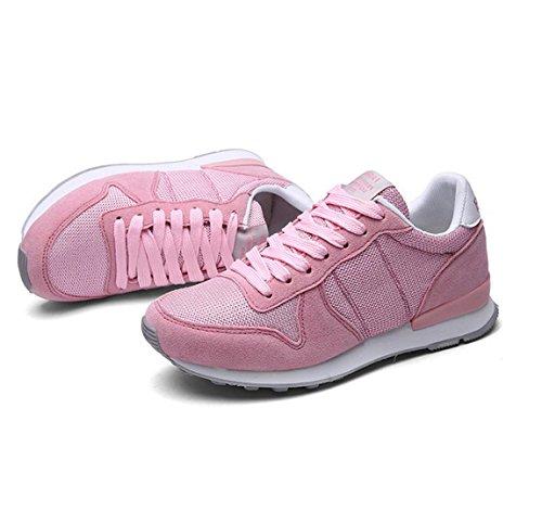 WZG Los nuevos zapatos deportivos ligeros de malla transpirable zapatillas de deporte par de zapatos de tacón plano Pink
