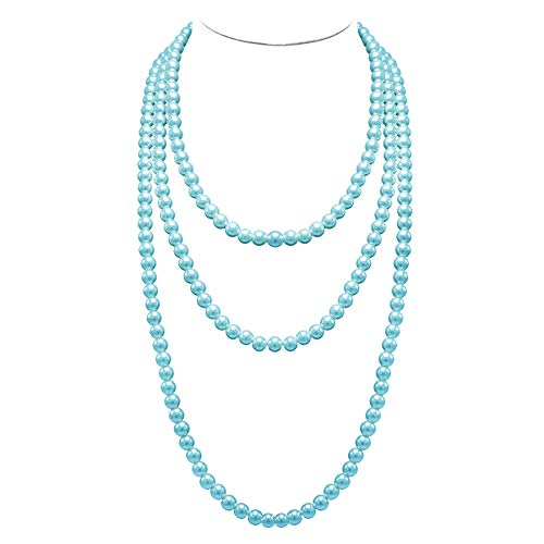 (T-Doreen Long Pearl Necklace for Women Girls 69 Inch Layered Strands Necklace (Light Blue))