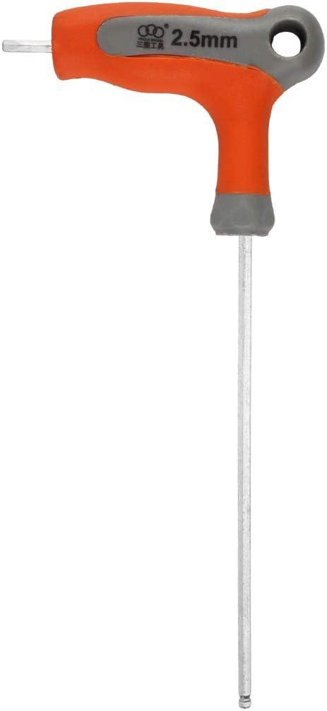 2.5mm Andux Zone Llave Allen de 1 pieza Llave m/étrica hexagonal Llave en T con extremo de bola CR-V NLJBS-01