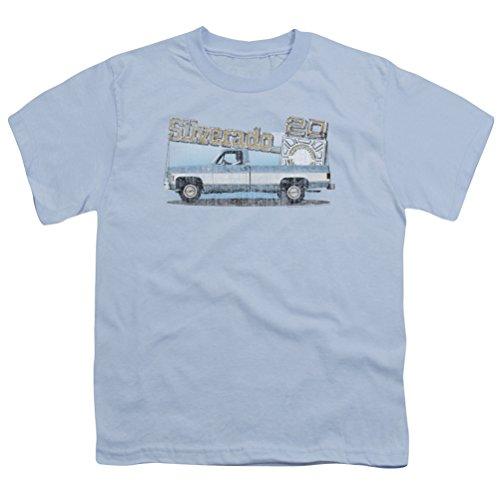 Kids Chevy Old Silverado Truck Sketch Youth T-shirt, Light Blue, XL
