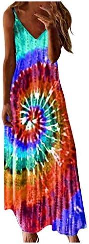 Chanyuhui Cami Tank Dresses for Women Elegant Summer V Neck Floral Maxi Dress Sleeveless Long Dresses Beach Sundress