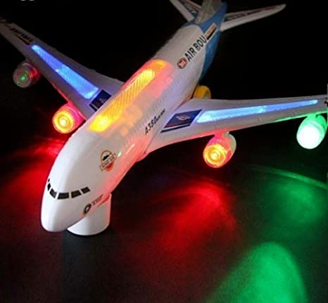 GN Enterprises BUMP AND GO ELECTRIC FLASHING MOVING SOUND MUSICAL A380 AIRBUS AIRPLANE TOY 32 CM