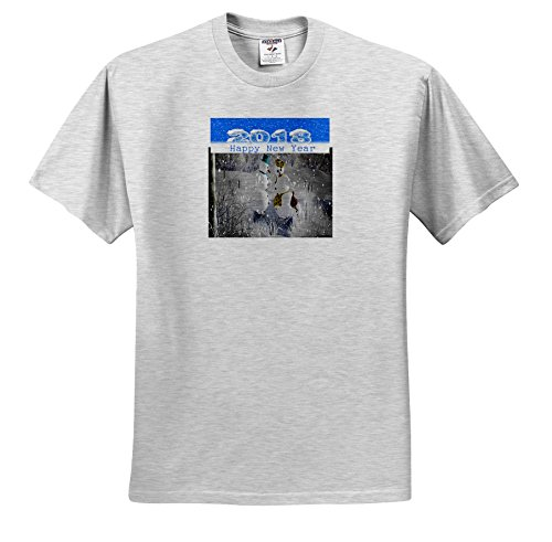 3dRose New Year Designs - Image Of Family Of Snowmen and 2018 In Snowy Numbers - T-Shirts - Adult Birch-Gray-T-Shirt Medium - Images 19 Number