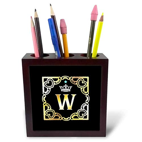 (3dRose Russ Billington Monograms-Crown and Star-Letter W - Letter W- Image of Monogram with Crown and Blue Star- not Metal foil - 5 inch Tile Pen Holder (ph_299136_1))