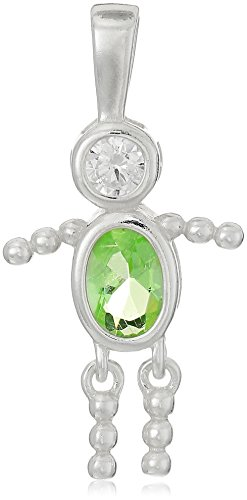 Sterling Silver AAA Cubic Zirconia Simulated Birthstone Babies Boy Charm, August (Birthstone Boy August Charm)