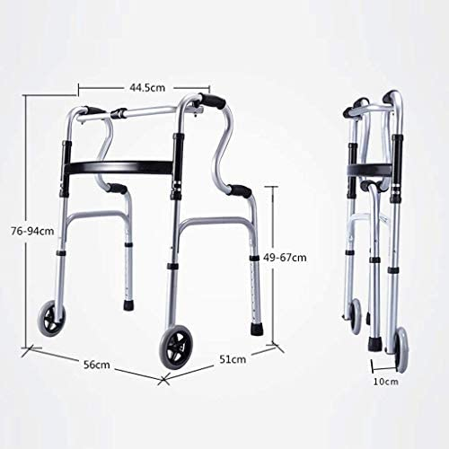 Alter Gehwagen, Alter Gehwagen Aus Aluminiumlegierung Auf Zwei Rädern, Gehhilfe Für Behinderte, Vierbeiniger Gehstock, Zusammenklappbar, Höhenverstellbar (Color : Silver)