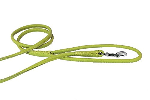 Dogline Soft and Padded Rolled Round Leather Leash for Dogs W1/2'' - L72, Lime Green