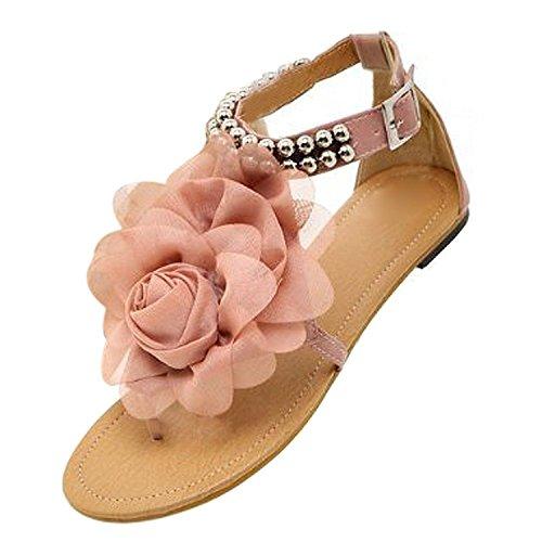 TOOGOO(R) Gladiator Sandalen fuer Frauen weibliche wulstige Blume flache Sommer Flip-Flop flache Schuhe Damenschuhe Boehmen Sandalen beige Groesse 4 Rosa