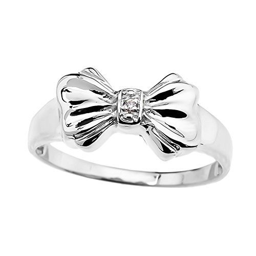 Unique 10k White Gold Diamond Ribbon Bow Tie Ring (Size 8.25)
